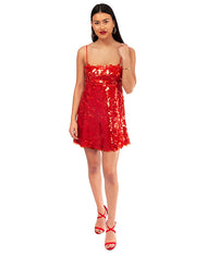 HIRE ZARA RED SEQUIN MINI DRESS
