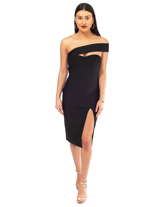 BLACK BODYCON ASYMMETRIC MIDI DRESS