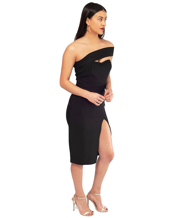HIRE BLACK BODYCON ASYMMETRIC MIDI DRESS