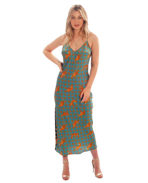 NEVER FULLY DRESSED TIGER PRINT MAXI DRESS