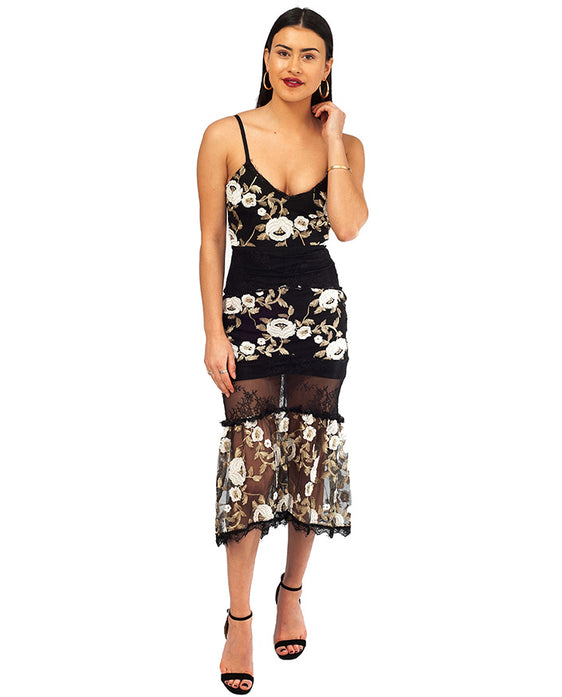 BLACK MIDI DRESS WITH EMBROIDERED FLORAL DETAIL