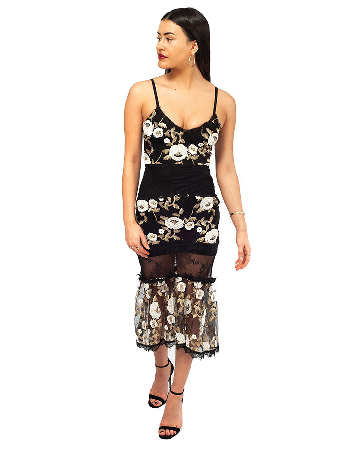 HIRE BLACK MIDI DRESS WITH EMBROIDERED FLORAL DETAIL