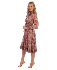 FLORAL CHIFFON MIDI DRESS WITH HIGH NECK