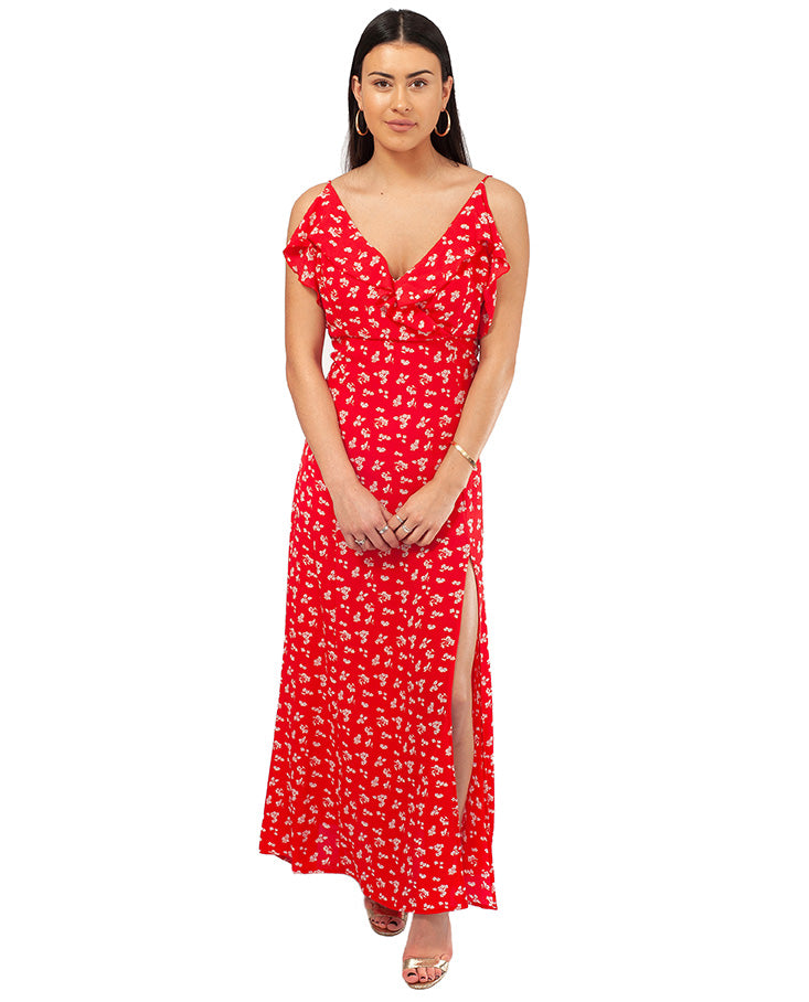 HIRE RED RUFFLE MAXI DRESS