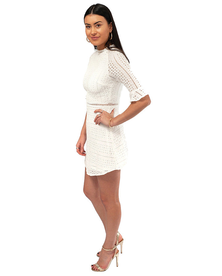 HIRE COTTON WHITE LACE MINI DRESS