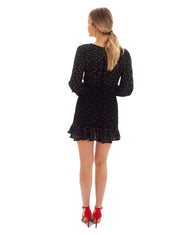 BLACK SPECKLE V-NECK MINI DRESS