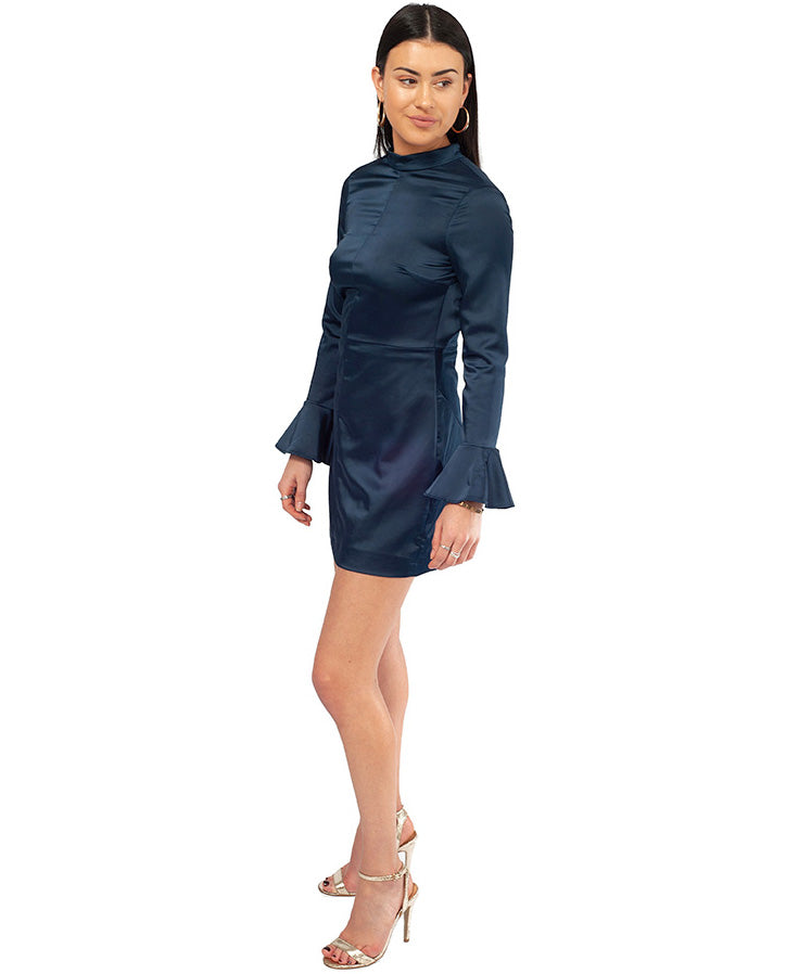 HIRE LONG SLEEVED NAVY SATIN MIDI