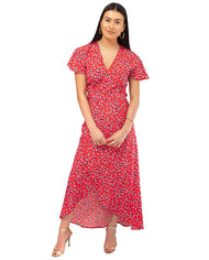 HIRE DANCING LEOPARD RED FLORAL WRAP MIDI DRESS