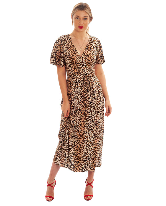 RUNAWAY THE LABEL LEOPARD PRINT WRAP MIDI DRESS