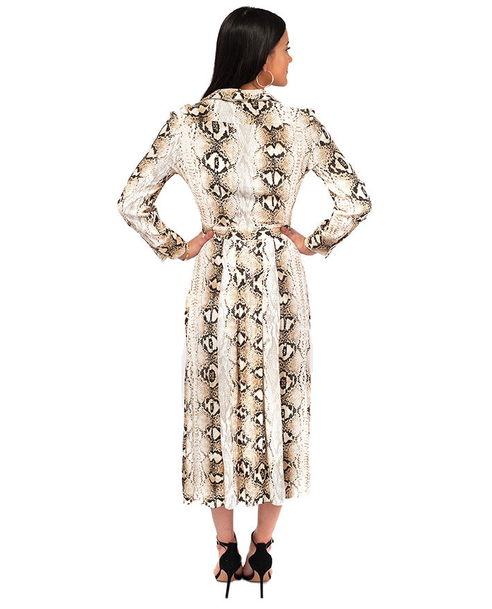HIRE TOPSHOP SNAKE PRINT MIDI DRESS WITH SPLIT FRONT