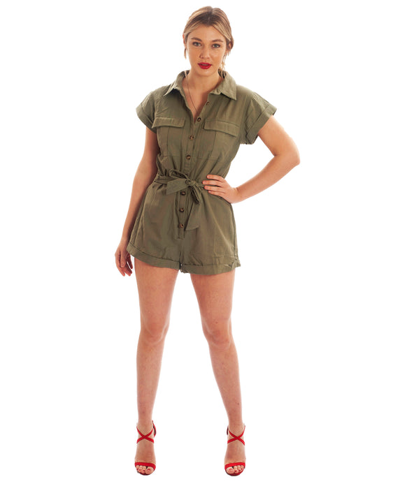 RUNAWAY THE LABEL KHAKI PLAYSUIT