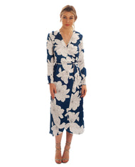 DANCING LEOPARD YONDAL MIDI WRAP DRESS IN NAVY BLOOM