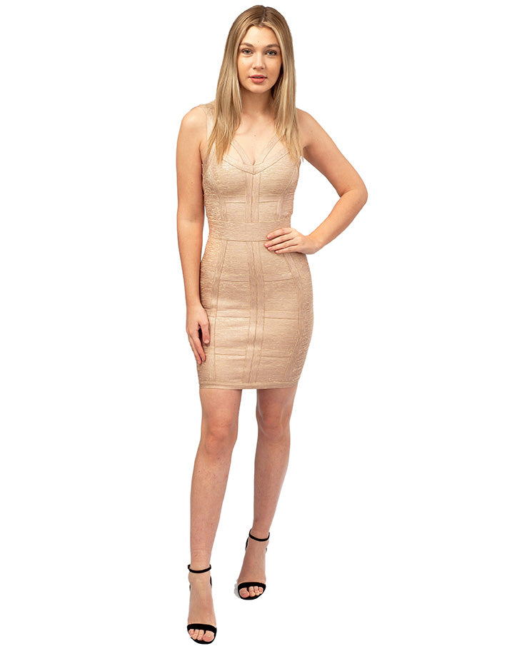 HIRE HOUSE OF CB GOLD STRUCTURED MINI DRESS