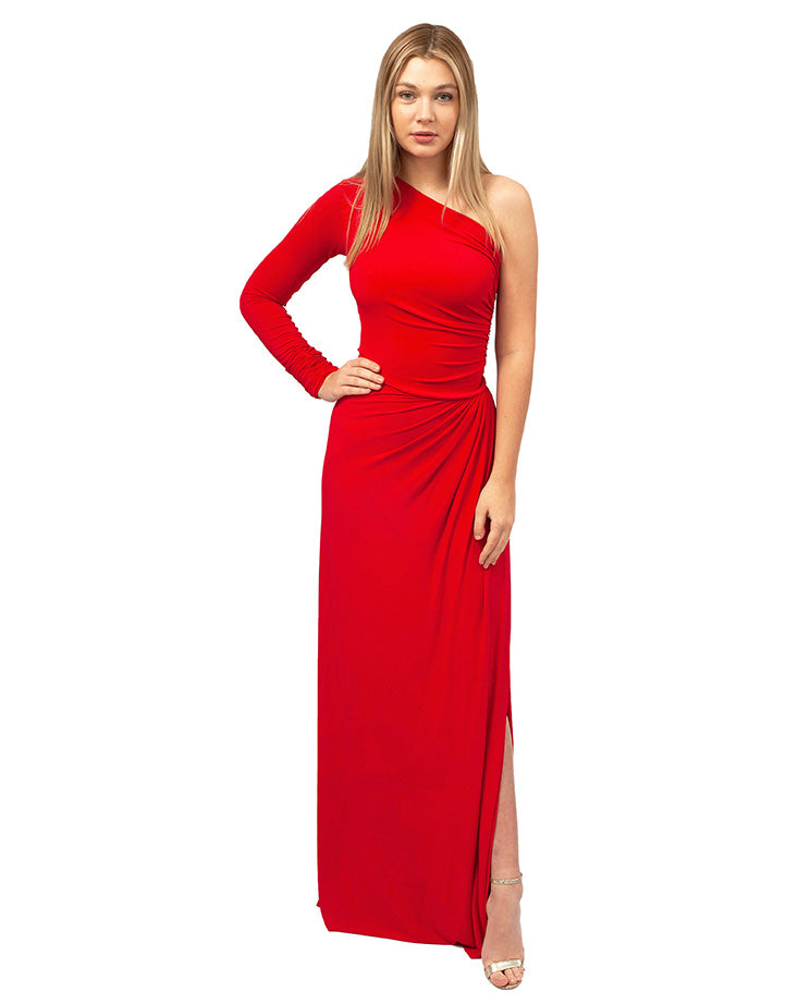 HIRE RED ONE SHOULDER ASYMMETRIC MAXI DRESS