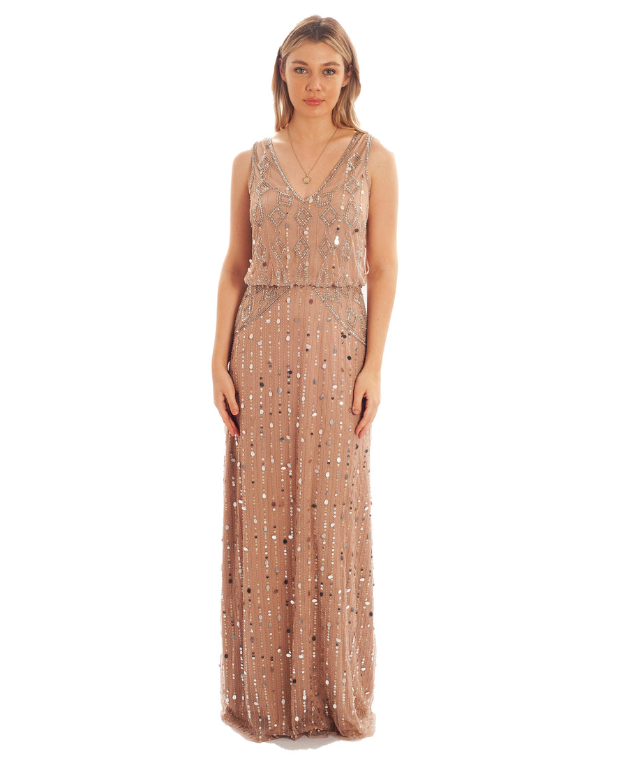 FROCK & FRILL PINK V-NECK EMBELLISHED MAXI DRESS