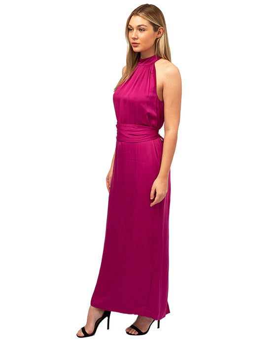 HIRE FRENCH CONNECTION PINK BELTED MAXI DRESS
