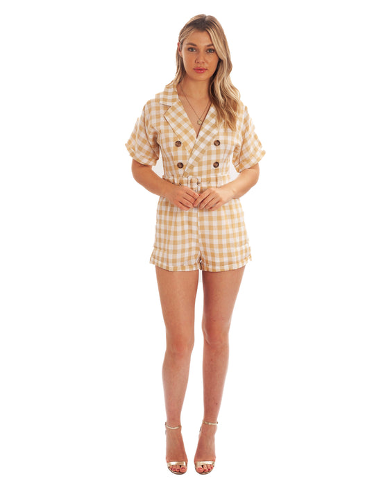 BEIGE CHECKED PLAYSUIT WITH BELT