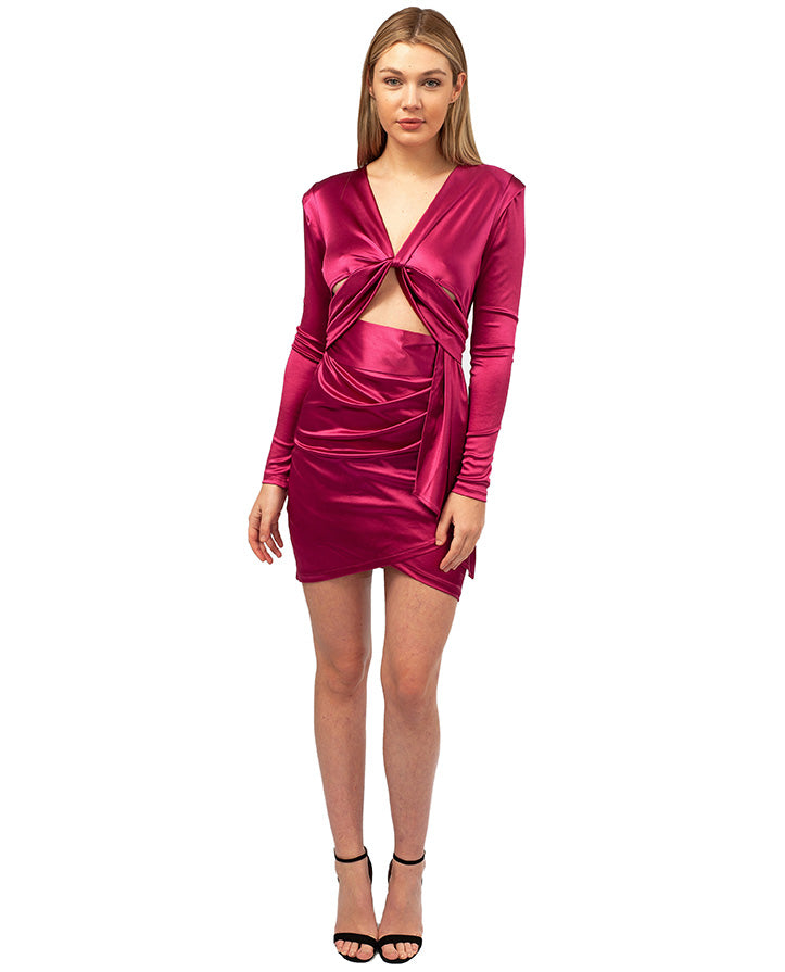 HIRE PINK SATIN MINI DRESS WITH CUT OUT FRONT
