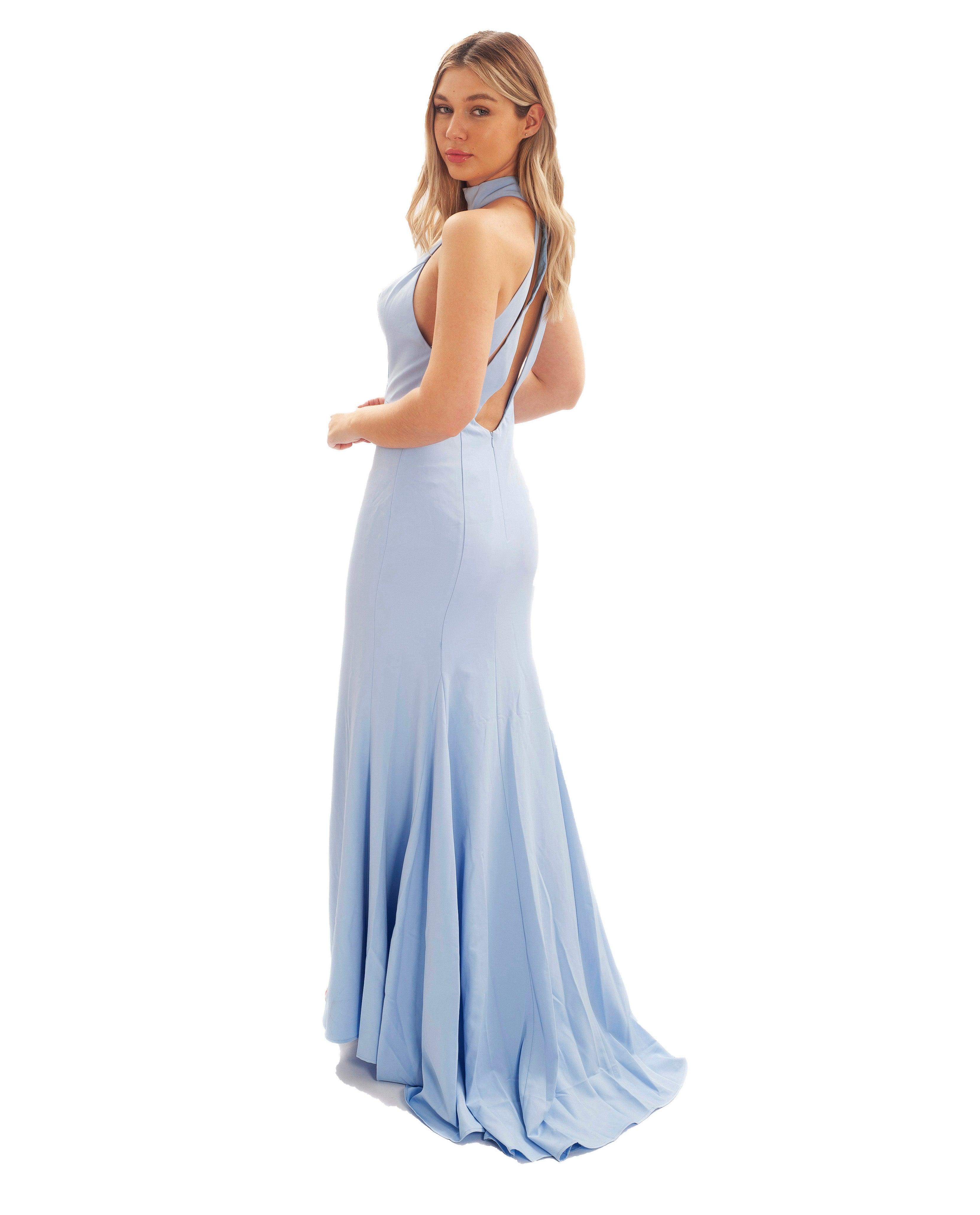 JARLO CECILY SKY BLUE HALTERNECK MAXI WITH BACK STRAP DETAIL
