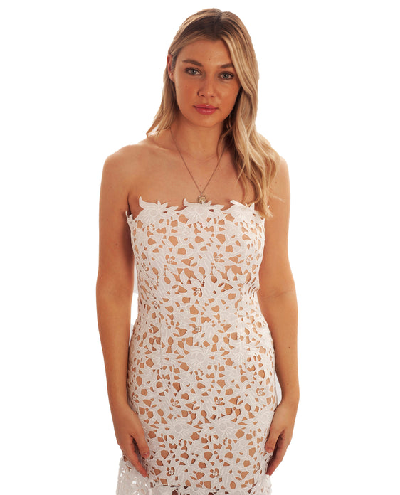 JARLO WHITE LACE CUTOUT SUMMER BANDEAU DRESS