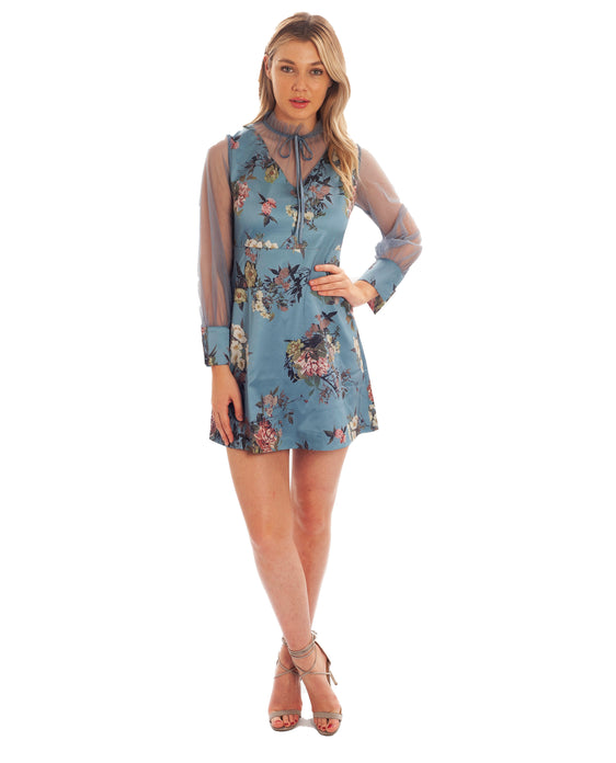 BLUE SKATER MINI DRESS WITH CHIFFON SLEEVES