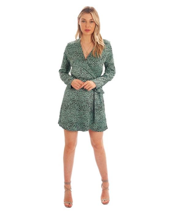 DANCING LEOPARD WRAP DRESS IN MINT WITH LEOPARD PRINT