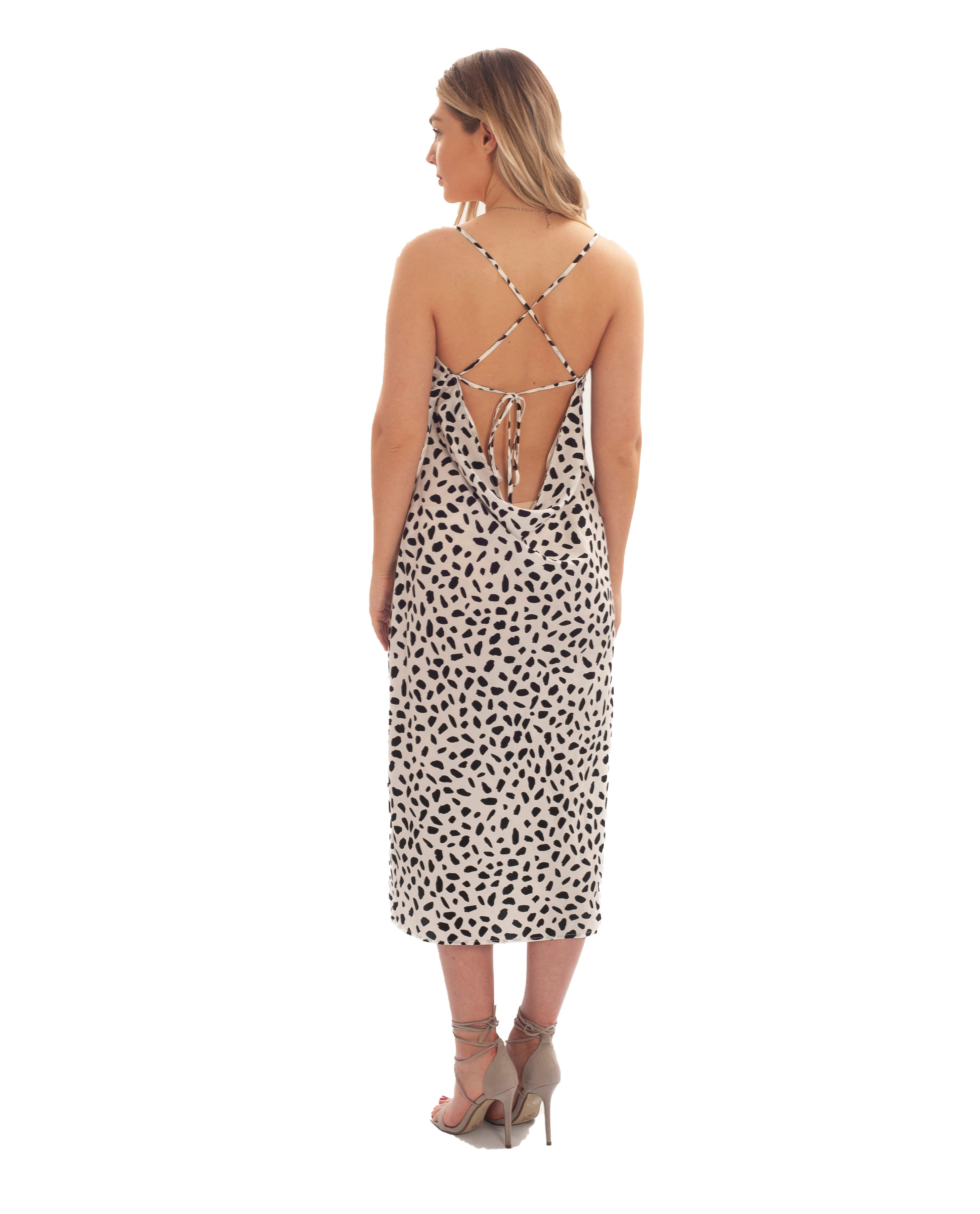 RUNAWAY THE LABEL MONOCHROME SLIP DRESS