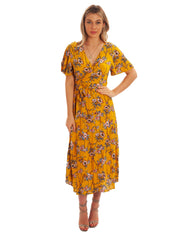 SEVEN WONDERS YELLOW FLORAL PRINT WRAP DRESS