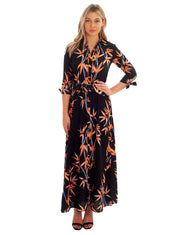DANCING LEOPARD NAVY MAXI DRESS WITH FRONT SPLIT