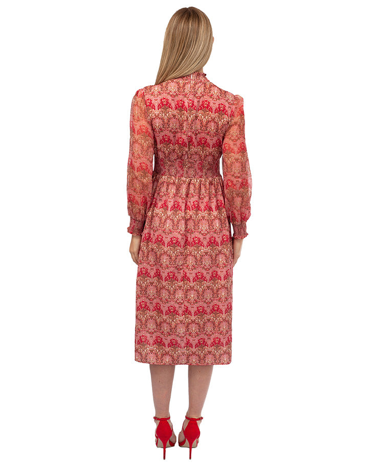 HIRE RED PRINT MIDI DRESS WITH BEADED NECK