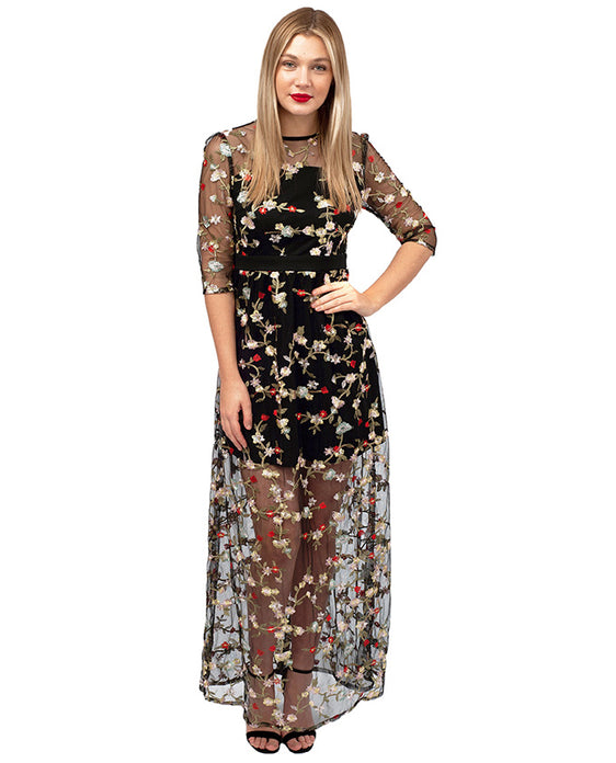 HIRE BLACK FLORAL EMBROIDERED MAXI DRESS