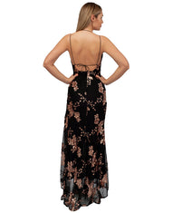HIRE BLACK MAXI DRESS WITH ROSE GOLD SEQUIN DETAIL