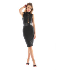 Rent dress | Black lace front bodycon dress | Hirestreetuk.com