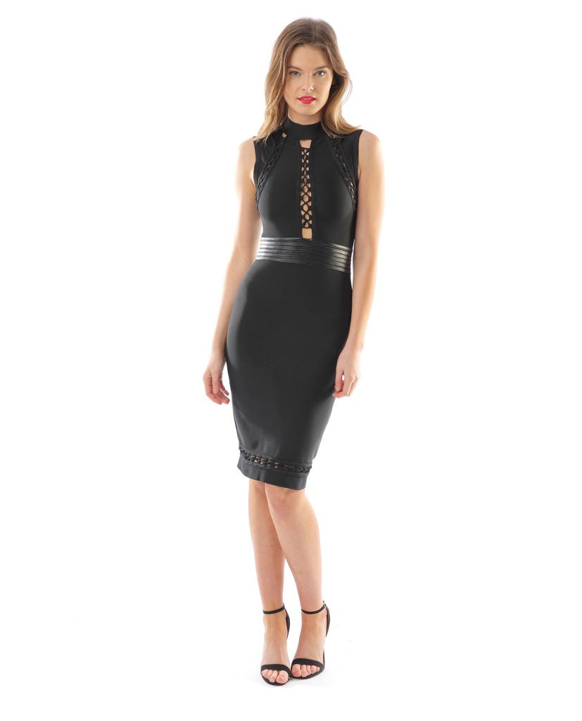 BLACK LACE FRONT BODYCON DRESS