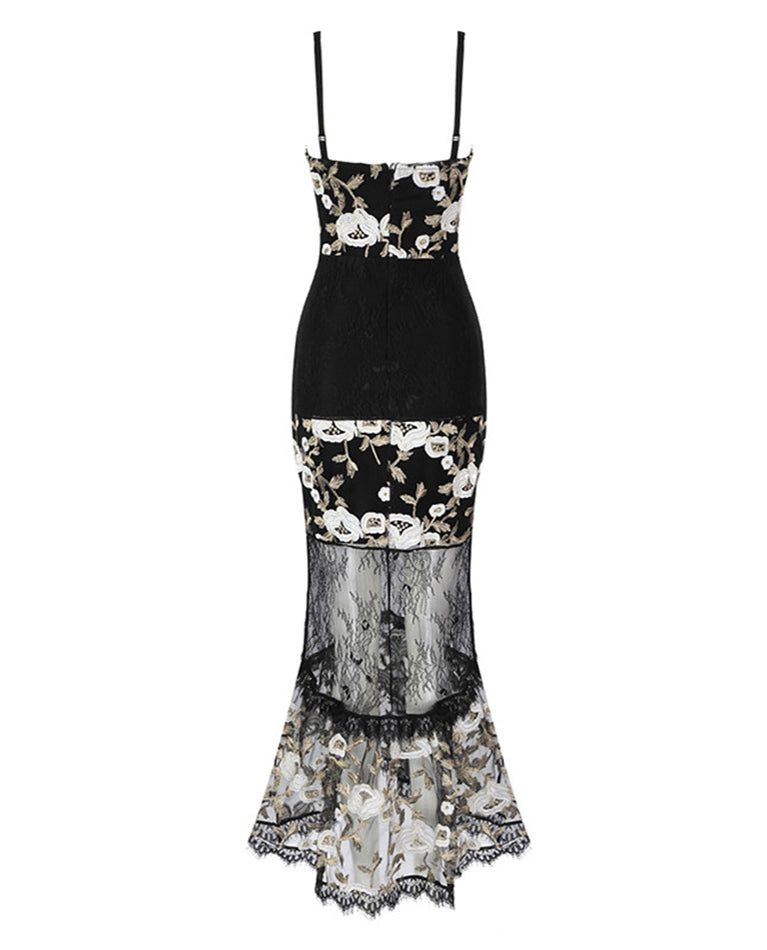 HIRE BLACK MIDI DRESS WITH EMBROIDERED FLORAL DETAIL _1