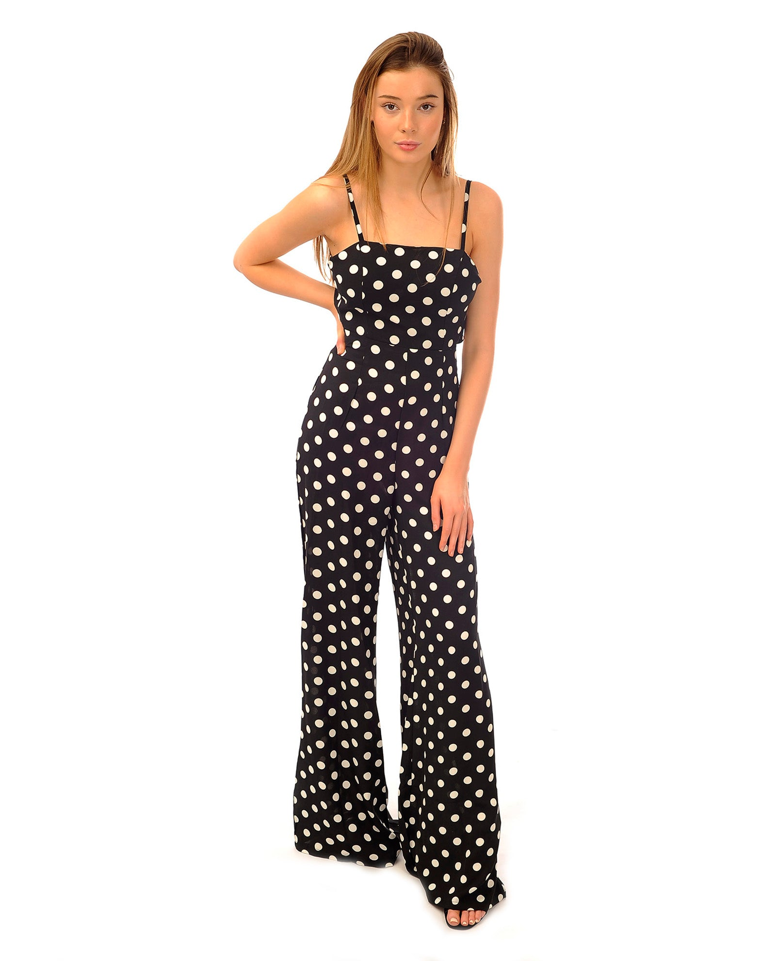 Rent a jumpsuit | Black and White polka dot jumpsuit | Hirestreetuk.com