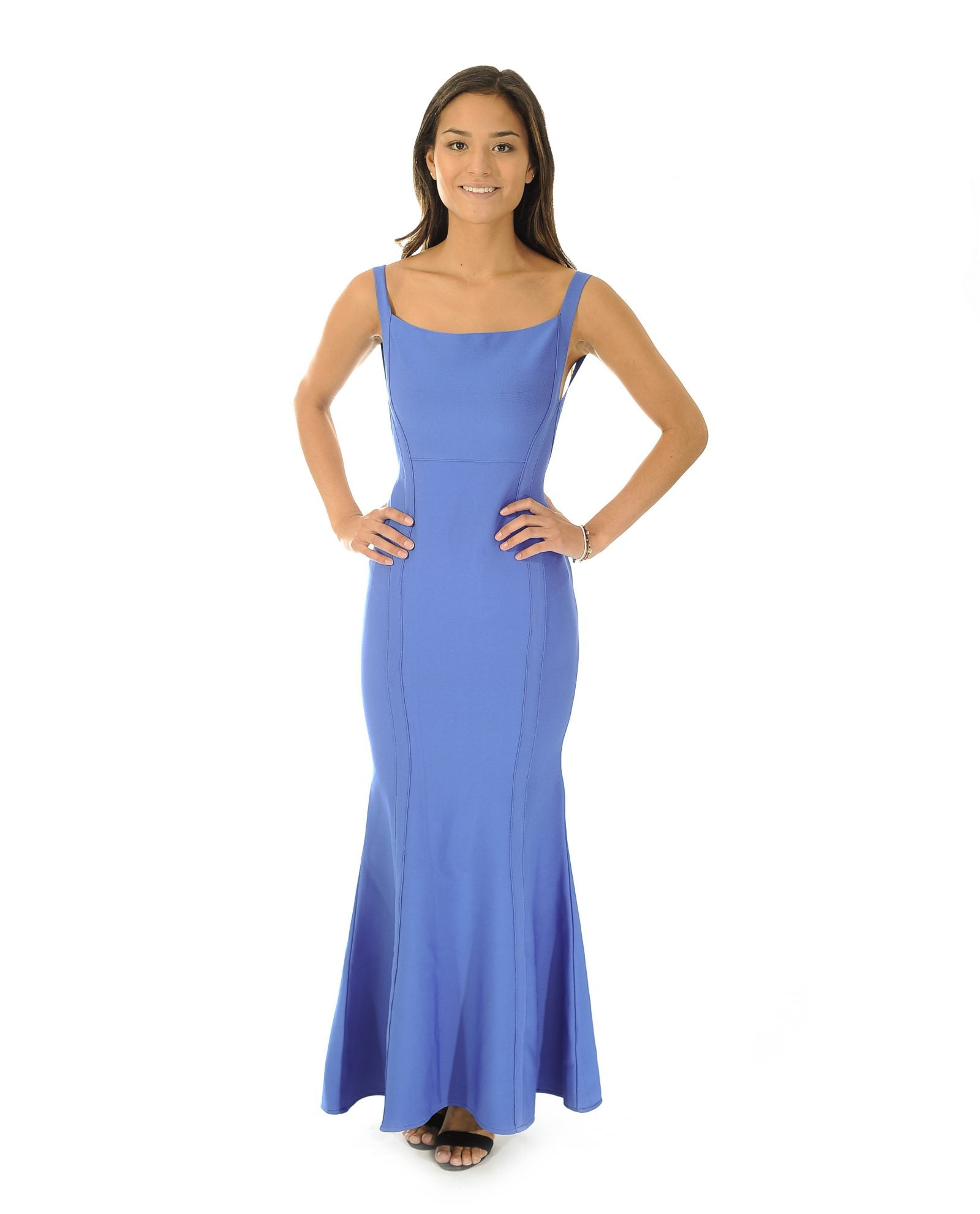 BLUE BODYCON MAXI DRESS WITH SCOOP BACK_AAA0600