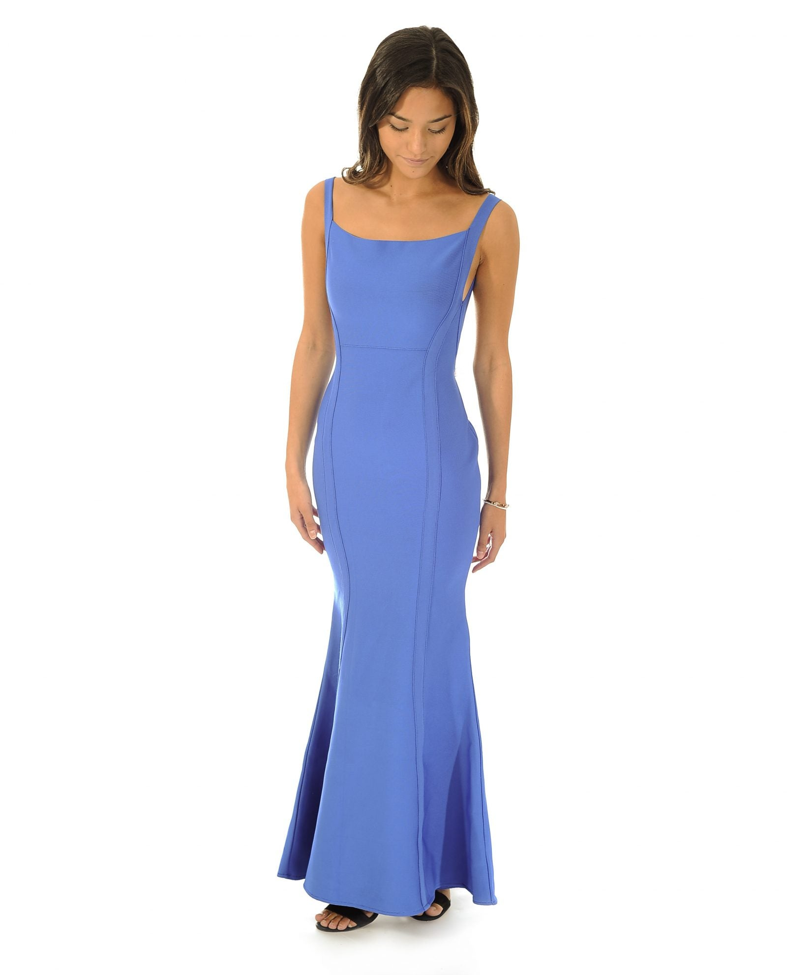 BLUE BODYCON MAXI DRESS WITH SCOOP BACK_AAA0604