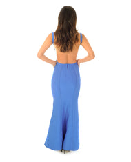 BLUE BODYCON MAXI DRESS WITH SCOOP BACK_AAA0609