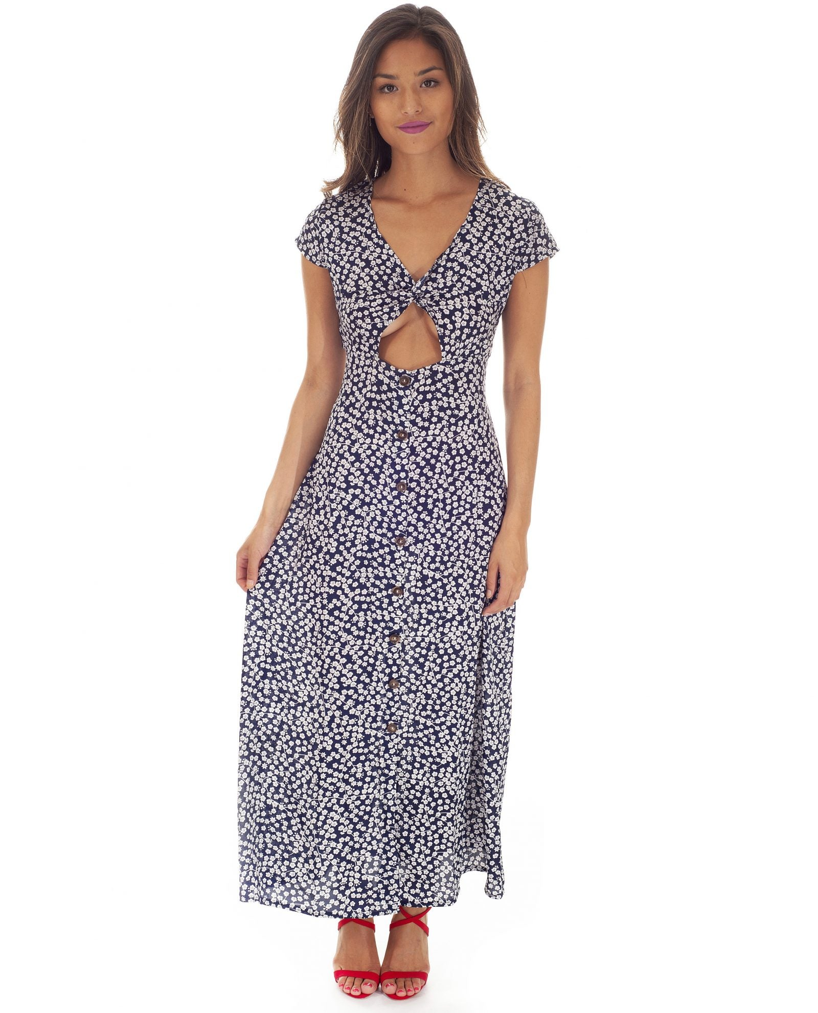 Hire Blue & White Polka Dot Maxi | Hirestreetuk.com