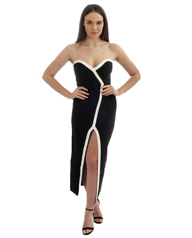 BLACK BANDEAU MAXI WITH WHITE TRIM DETAIL