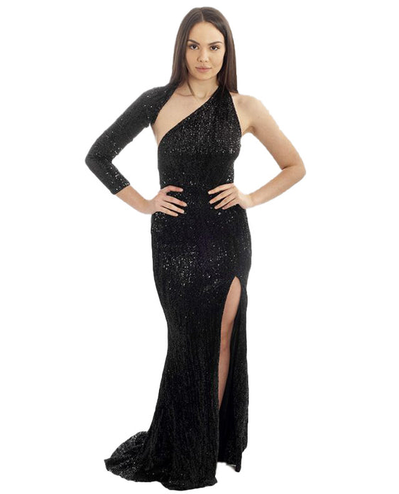BLACK ONE SLEEVED SEQUIN MAXI
