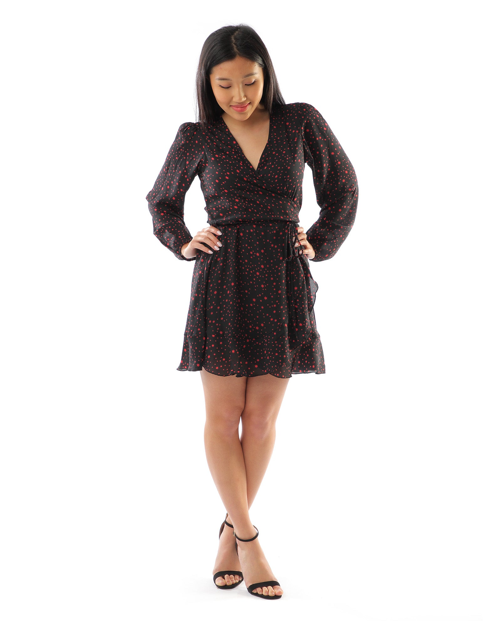Rent dress | Dancing Leopard black star wrap dress | Hirestreetuk.com