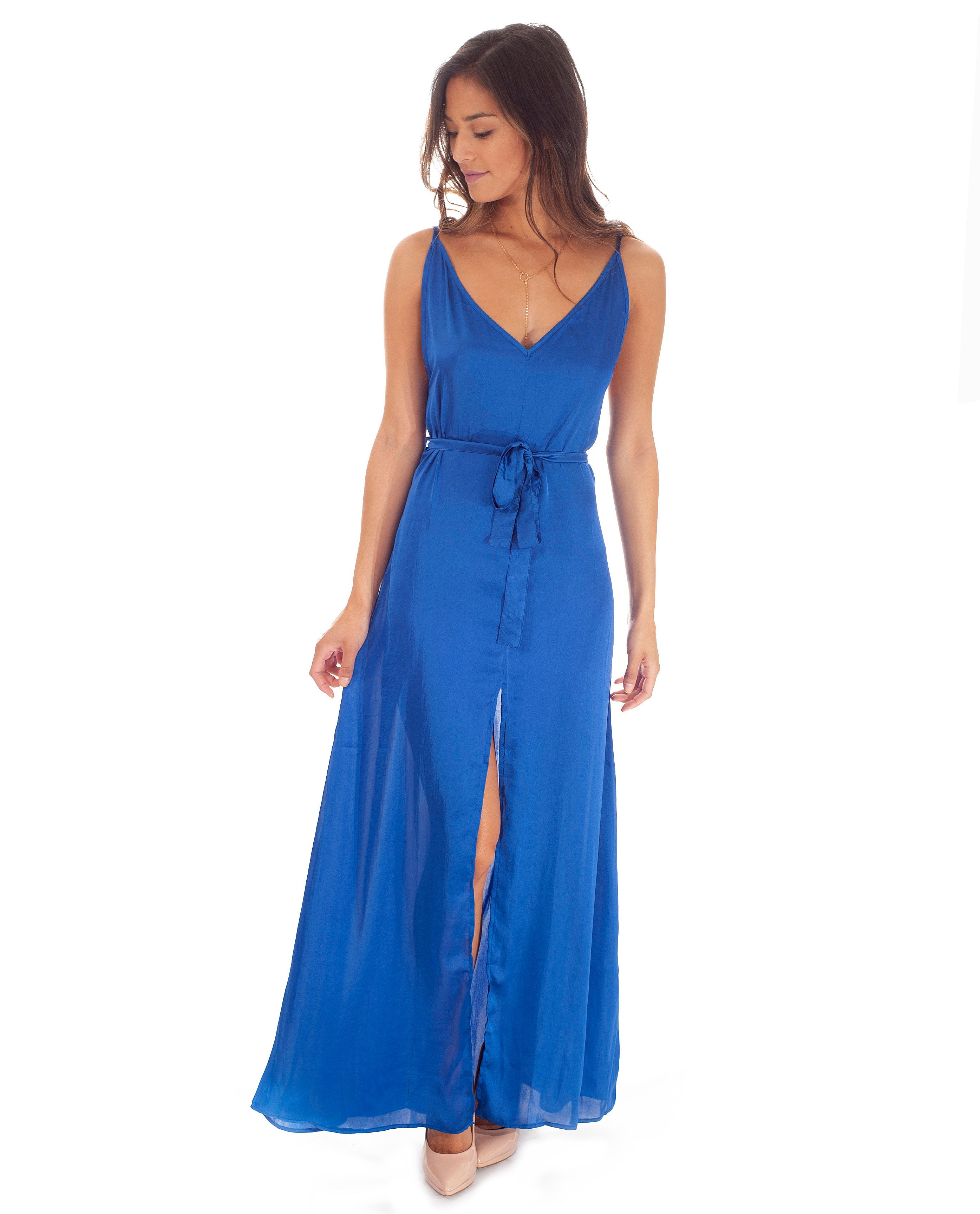 Hire Dancing Leopard Blue Satin Split Front Maxi | Hirestreetuk.com