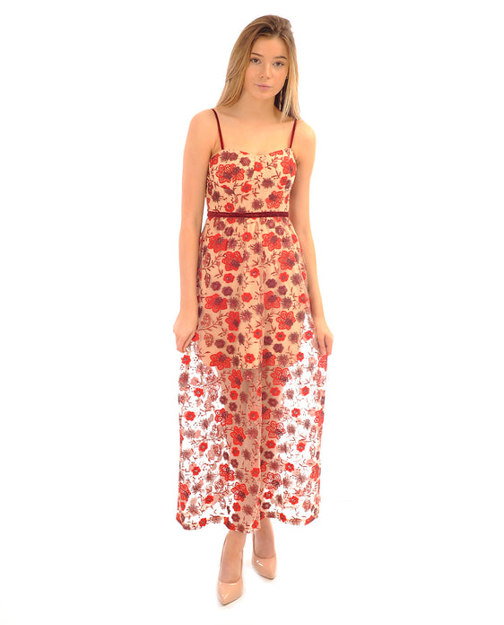 EMBROIDERED FLORAL RED MAXI DRESS