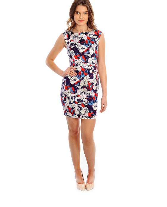 FRENCH CONNECTION FLORAL PRINT BODYCON MINI DRESS
