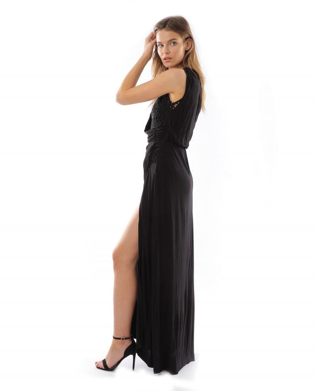 GREAT PLAINS BLACK EMBROIDERED MAXI DRESS