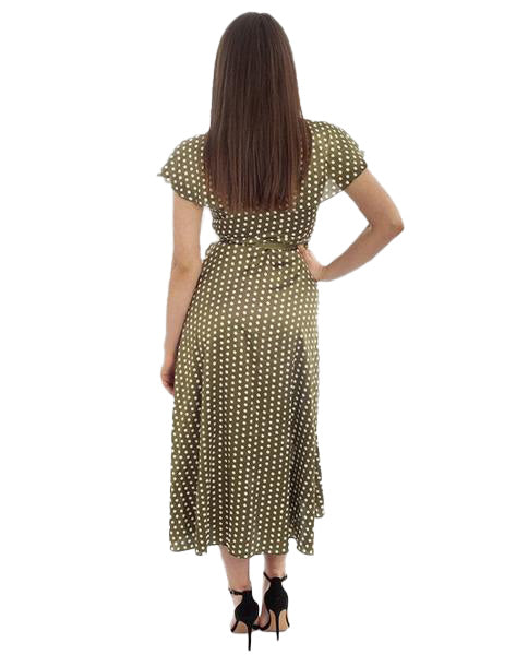 GREEN WRAP POLKA DOT MIDI DRESS