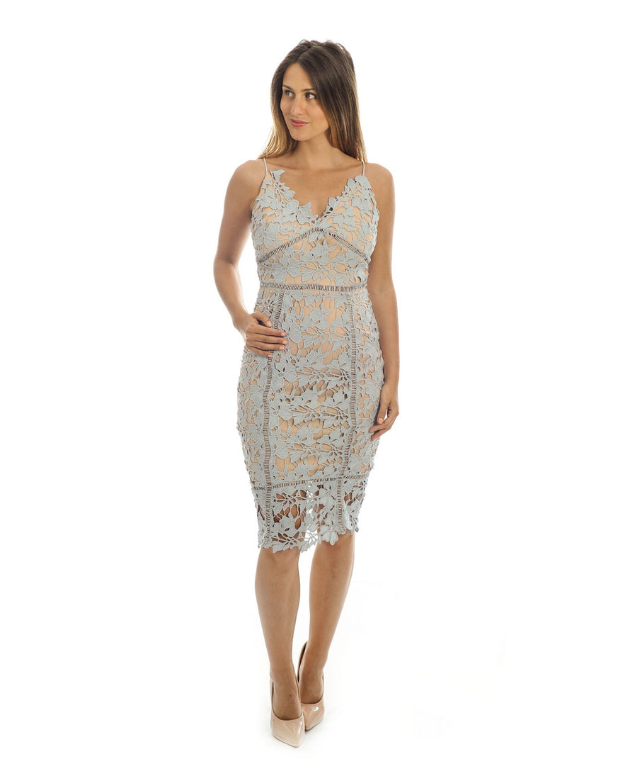GREY LACE BODYCON MIDI DRESS_PTA0381