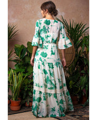 HOPE & IVY BELL SLEEVE MAXI DRESS WITH TIE WASIT AND FLORAL PRINT